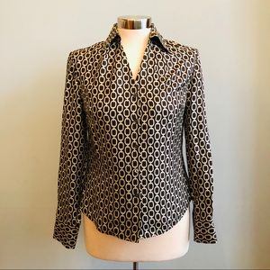 Ann Taylor brown chain print button-down blouse 2P
